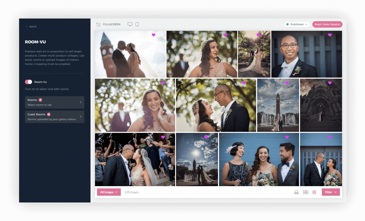 Select exactly what images from your client's photography session to have available in Room-Vu.